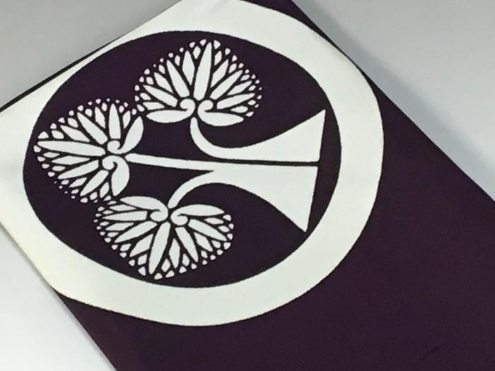 白山紬風呂敷2巾68cm家紋入り