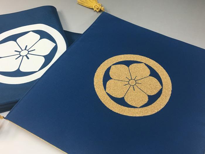 貴富音綴(きふねつづれ)の掛袱紗 家紋面