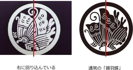 家紋(丸に揚羽蝶)角度が違う