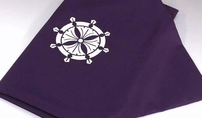 家紋「輪宝」の袷ふくさ(正絹白山紬)